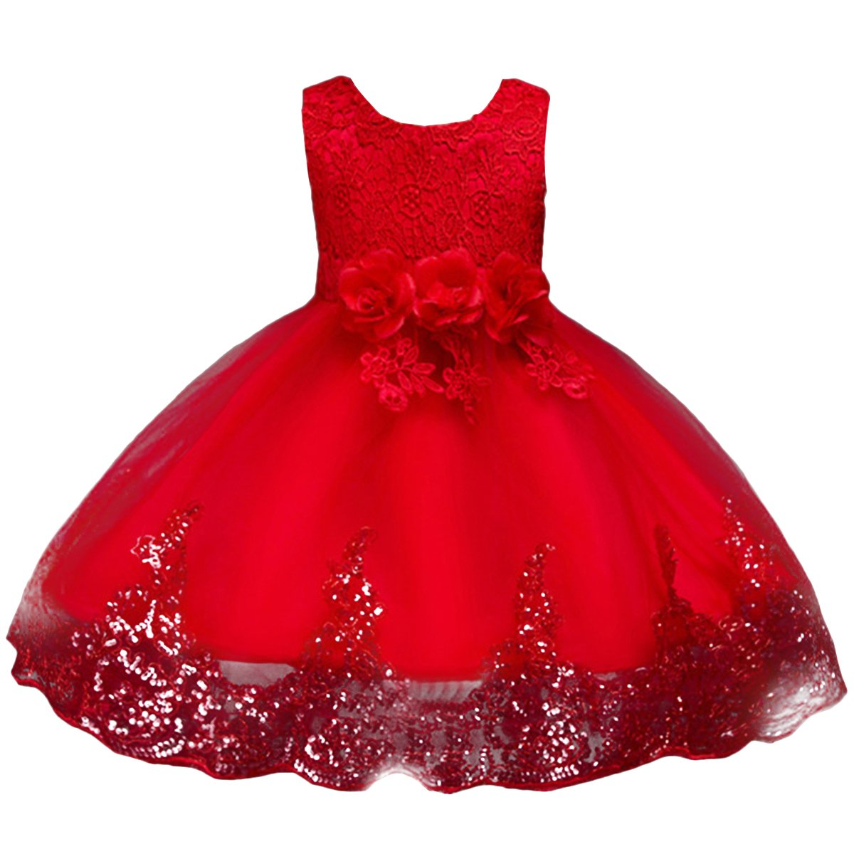 IBTOM CASTLE Girls Sequins Graduation Drees Embroidered Flower Wedding Pageant Gowns