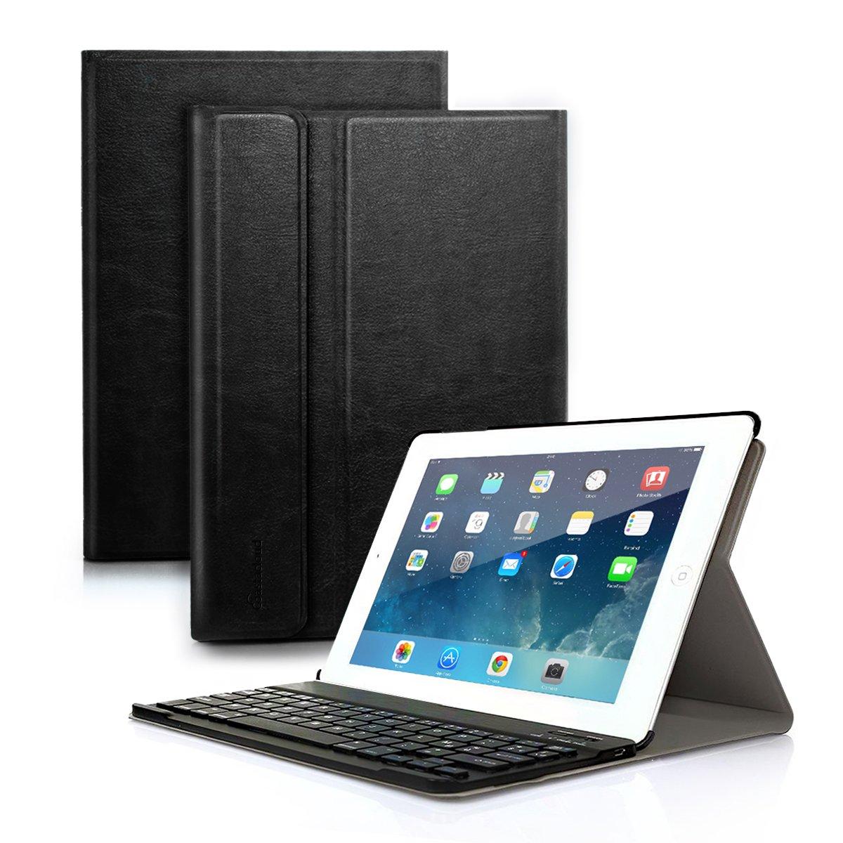 New 2018 iPad 9.7'', 2017 iPad, iPad Pro 9.7, iPad Air 1 Air 2 Keyboard Case - Detachable Bluetooth Keyboard with Anti-Slip Slim Folio Case Cover for iPad 9.7 Tablet - Black