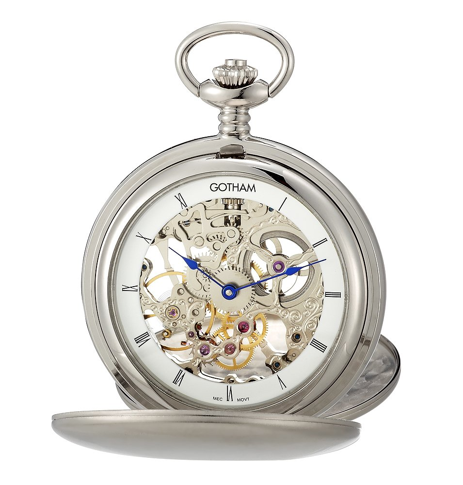 Gotham Men's Silver-Tone Double Cover Exhibition Mechanical Pocket Watch # GWC18801S by Gotham