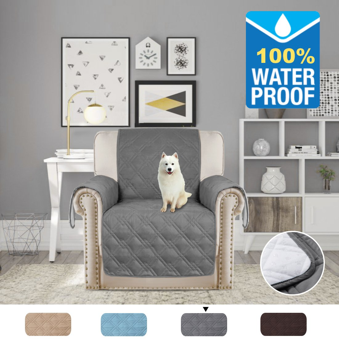 H.VERSAILTEX Pet Friendly Quilted Furniture Protector 100% Prevent Water Microfiber Soft and Luxurious Slipcovers Stay on Place (Recliner: Gray) - 79'' Width by 68'' Length
