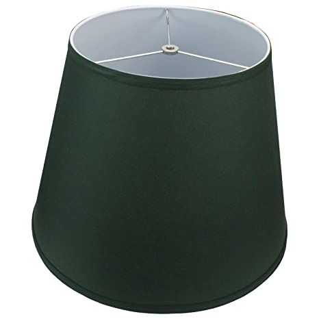 Lamp shade 11x17x13 hunter green linen fabric