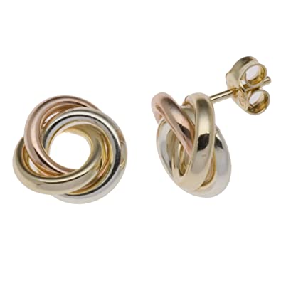 Adara 9 ct White Gold Knot Studs