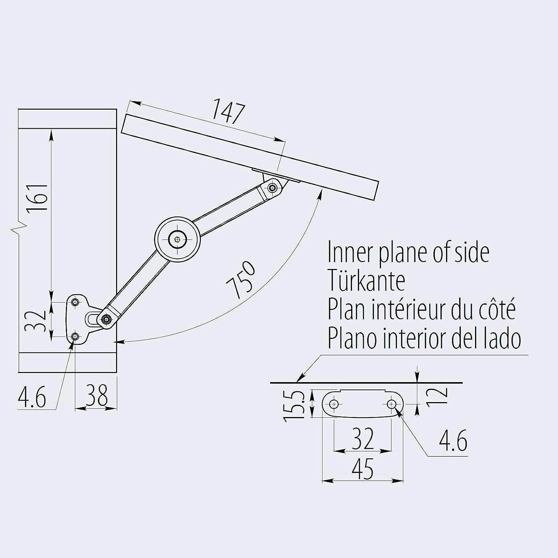 4 x SO-TECH/® Klappenbeschlag 75-100/° Truhenbeschlag Klappenhalter f/ür Holz oder Alurahmen