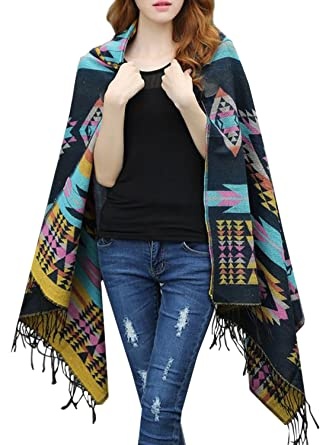 98139186a Futurino Women's Winter Boho Jacquard Plaid Hooded Poncho Cape Coverup  OneSize Blue