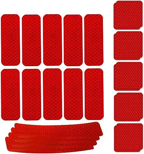 WENTS Adhesivos Reflectantes 24PCS Pegatinas Reflectantes Pegatinas Reflectantes Kit Adhesivo Universal para Bicicleta Cochecito Casco Moto Motocicleta Visibilidad de Noche (Rojo): Amazon.es: Deportes y aire libre