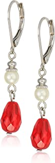product image for 1928 Jewelry Simulated Pearl And Red Crystal Drop Earrings