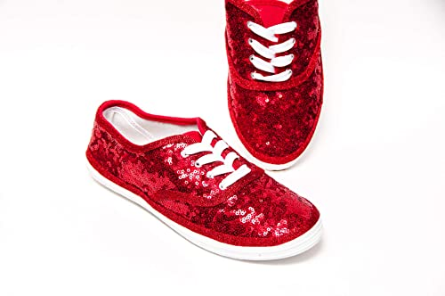 Women's Ruby Red Sparkly Sequin Canvas