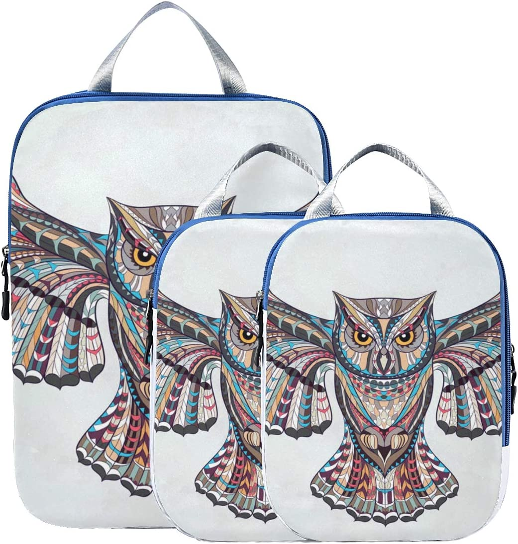 LUPINZ Patterned Owl Travel Luggage Packing Organizers 3 Pieces Travel Cubes