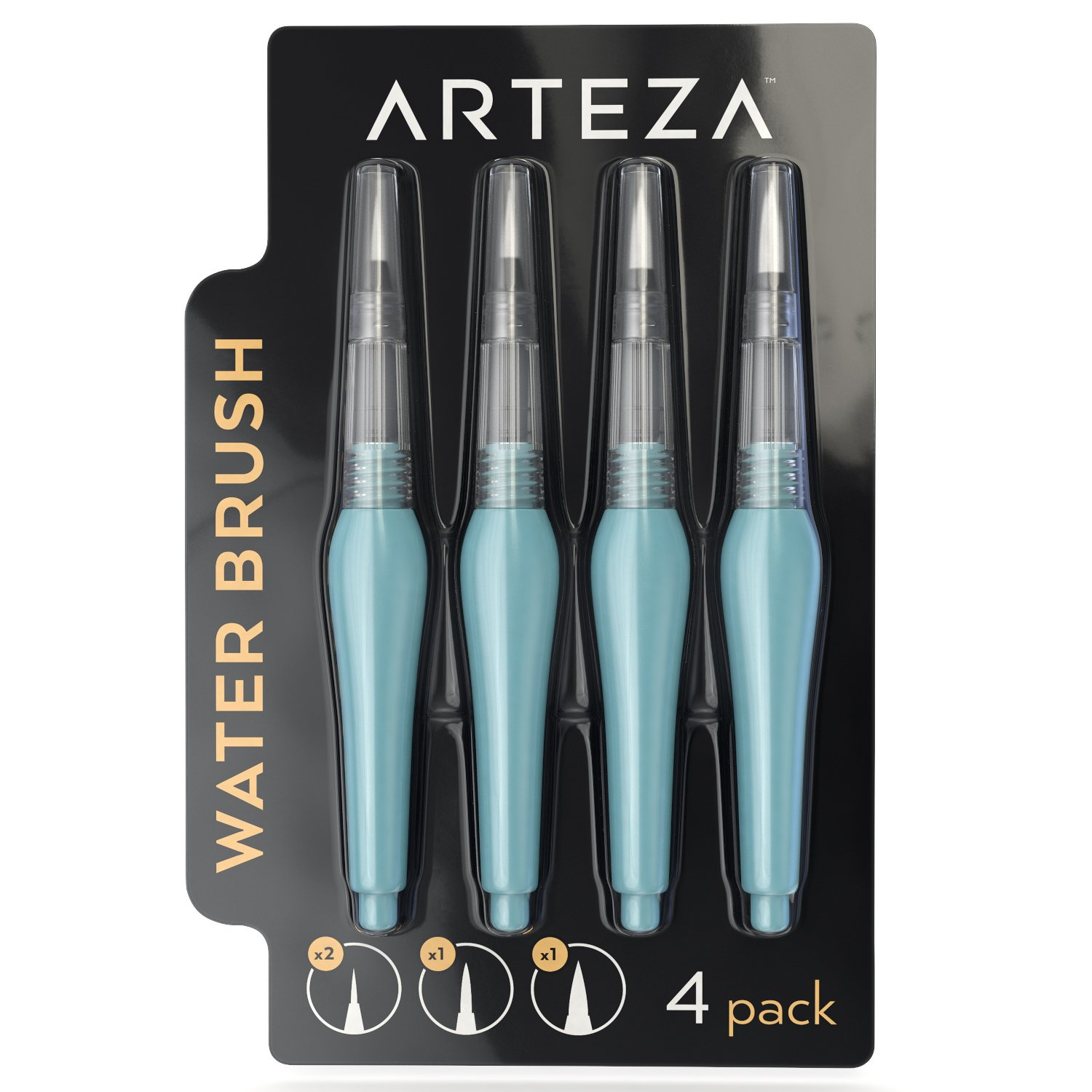 Arteza Water Brush Pen - Self-moistening - Portable - Watercolor - (Assorted Tips, Set of 4)