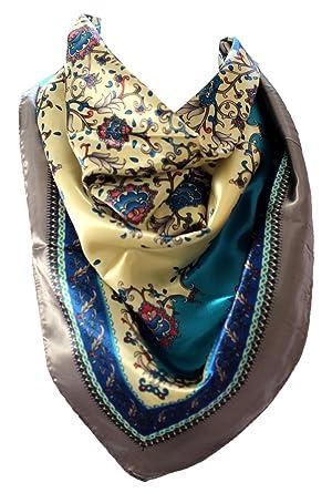 4138bae3cf6 Image non disponible pour la couleur   Ethnique Floral imprimé soie Satin  Bordé Bandana Carré Écharpe Tête Foulards (Bleu et Crème)