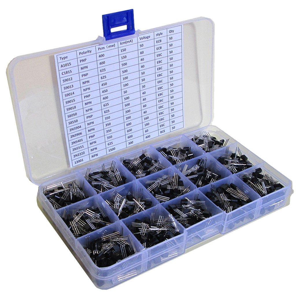 Baosity 750 General Transistor Assortment Box Fits Electronic Toys Durable DIY Parts