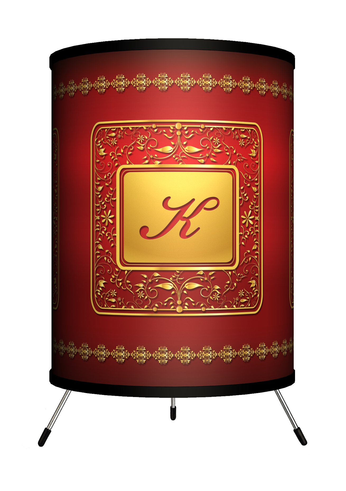 """Lamp-In-A-Box TRI-MNG-GLDRK Monograms Golden with Red Letter K Tripod Lamp, 8"""" x 8"""" x 14"""""""