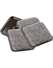 SoftTouch 4291995N Furniture Caster Cups Square with Carpeted Bottom for Hard Floor Surfaces (4 Piece), 2-1/2 Inch, Gray