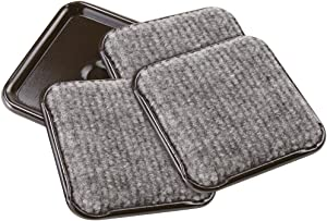 "SoftTouch 4292395N Furniture Caster Cups, 1-3/4"" Square, Brown with Carpeted Bottom for Hard Floor Surfaces (4 Piece), 1-3/4 Inch, Gray"