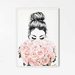 Wall Art Wall Decor Canvas Painting Female Face Art Fashion Illustration Girly Wall Art Female Art Print Girl Sketch Fashion Wall Art Romantic Poster Poster Painting Home Decor Gifts -24x32inch