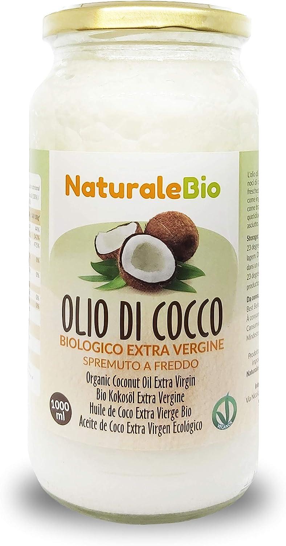 Aceite de Coco Ecológico Extra Virgen 1000 ml. Crudo y prensado en frío. 100% Orgánico, Puro y Natural. Aceite bio nativo no refinado. País de origen Sri Lanka. NaturaleBio
