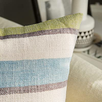 MIULEE Set of 2 Retro Stripe Throw Pillow Covers Linen Farmhouse Green and Blue