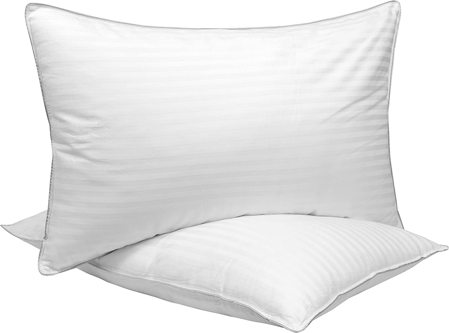 Sweet Home Collection Pillows for Sleeping 2 Pack Premium Down Alternative Fill with Cotton Cover Dobby Stripe Hotel Style Cushions with Silver Piping Edge, Queen, White