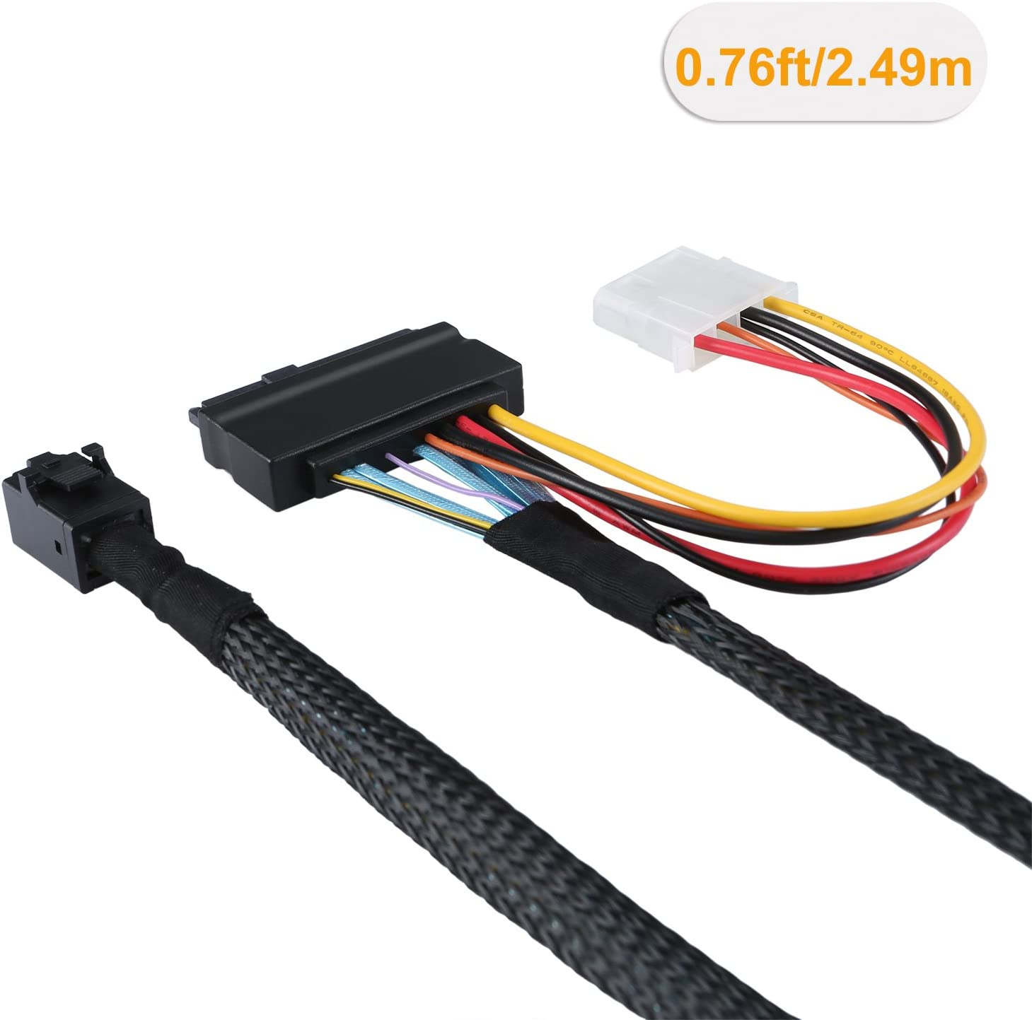 CableCreation 2.5FT Mini SAS HD Cable Internal Mini SAS SFF 8643 to U.2 SFF 8639 Cable with 4 Pin SATA Power Connector for Workstations,Servers and More