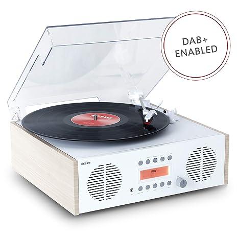 ION Audio Digital LP - Centro de Música Retro 4 en 1 con Plato Giratorio de Vinilo, Radio DAB/FM, Entradas USB y AUX
