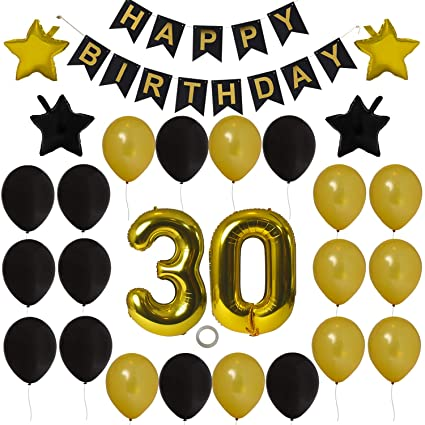 Houseables 30th Birthday Decorations Kit Happy Bday Banner Black Gold 40