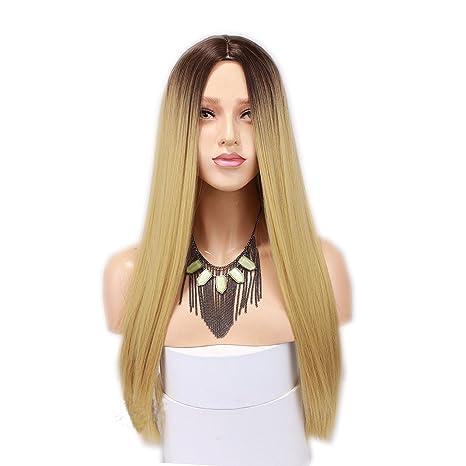 Eseewigs sintética larga recta Ombre peluca de dos tonos # 4 rooted # 27 Ombre resistente