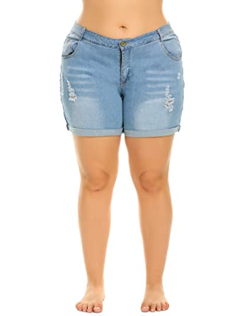 7890bf6dcb IN'VOLAND Women's Plus Size Denim Shorts Cuffed Short Jeans Pants at Amazon  Women's Clothing store:
