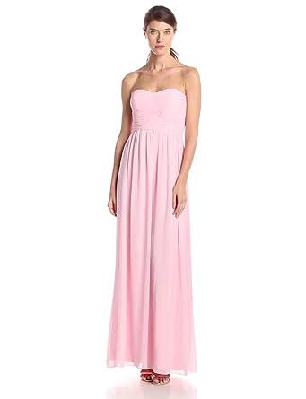 Donna Morgan Women\'s Stephanie Long Strapless Chiffon Dress at ...