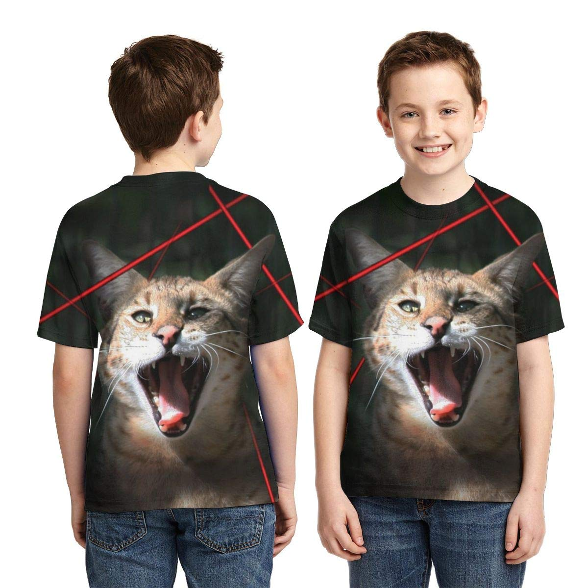 Big Cat Laser Pointers Kids Print Graphic Tee Short Sleeve T-Shirt