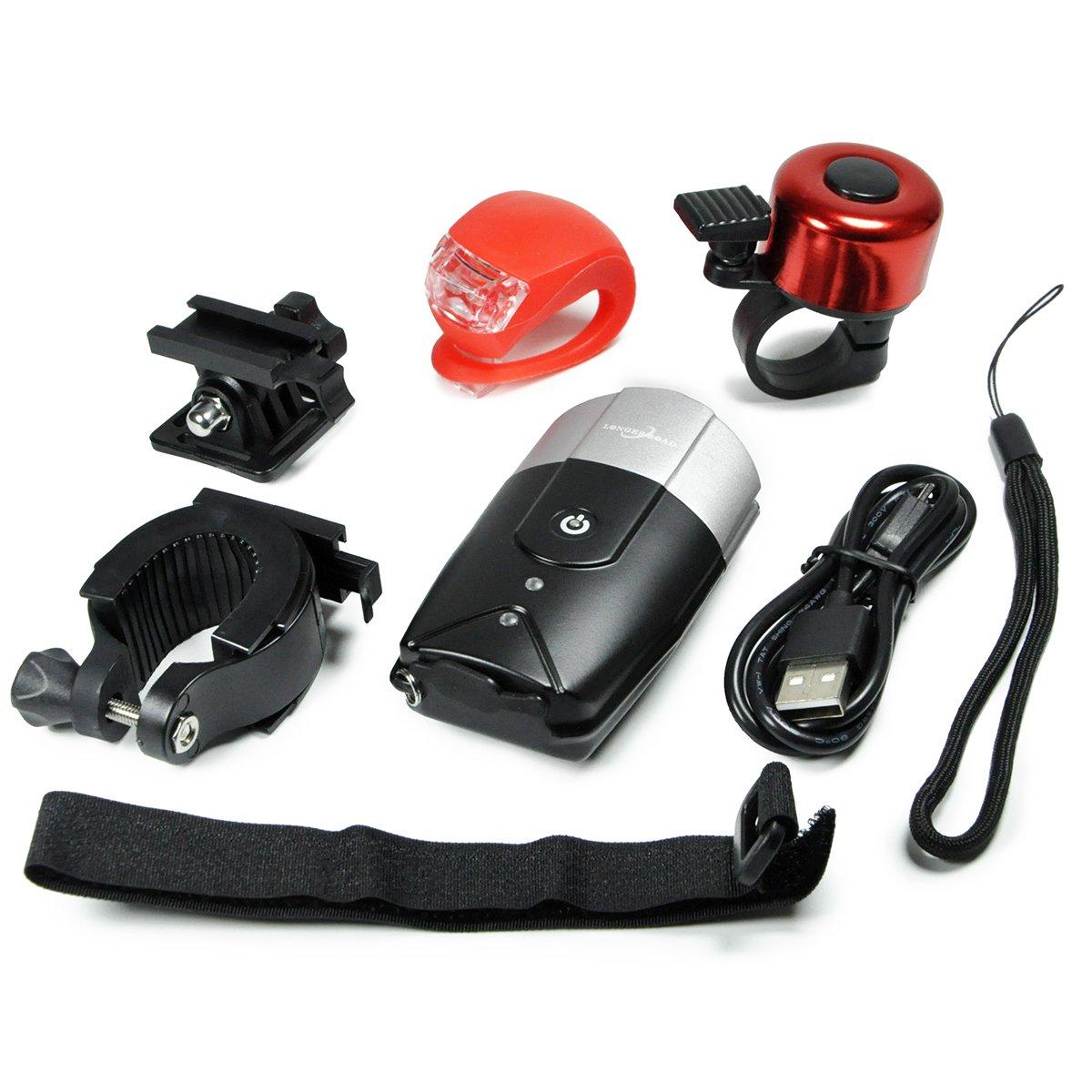Longer Road USB Rechargeable Bike Light Waterproof Bicycle Headlight