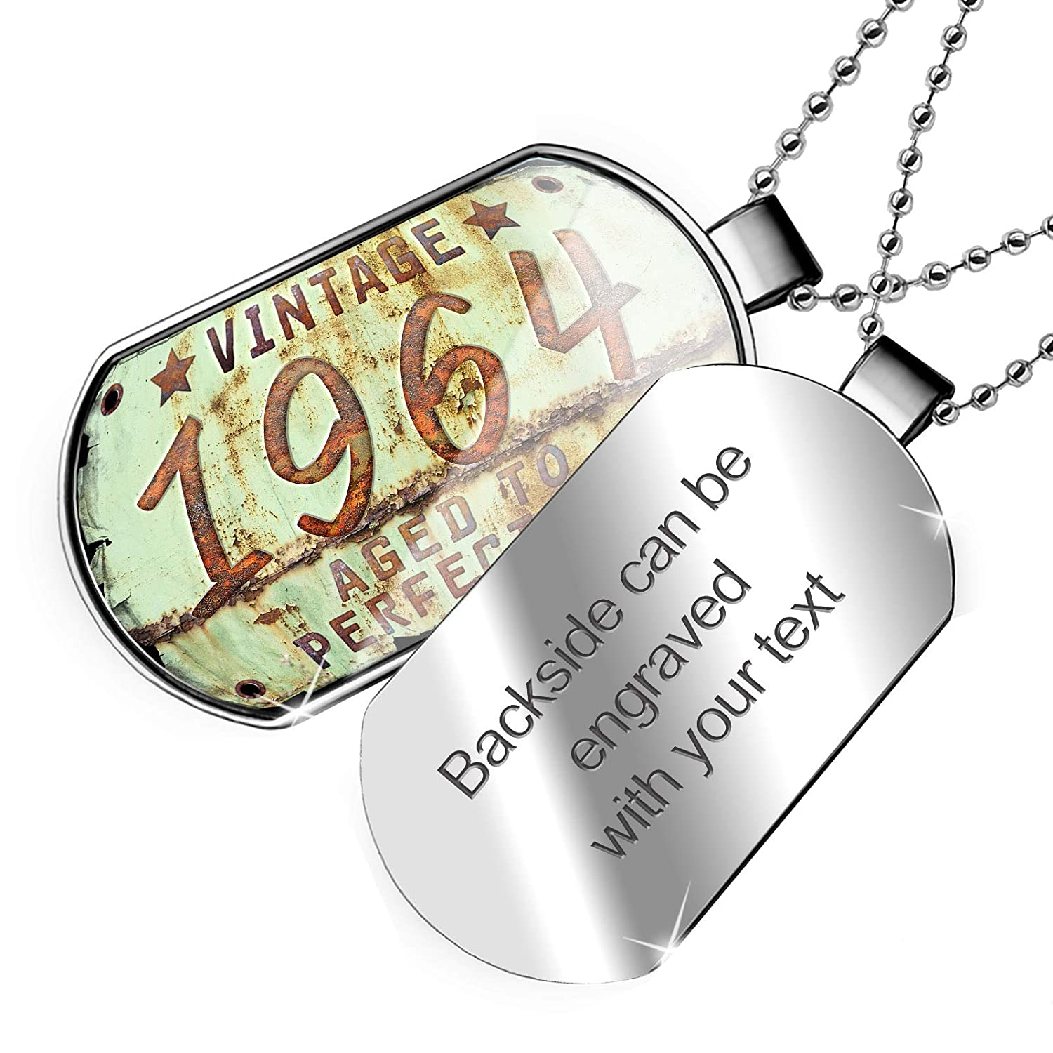 NEONBLOND Personalized Name Engraved Vintage Year 1964 Born//Made Dogtag Necklace