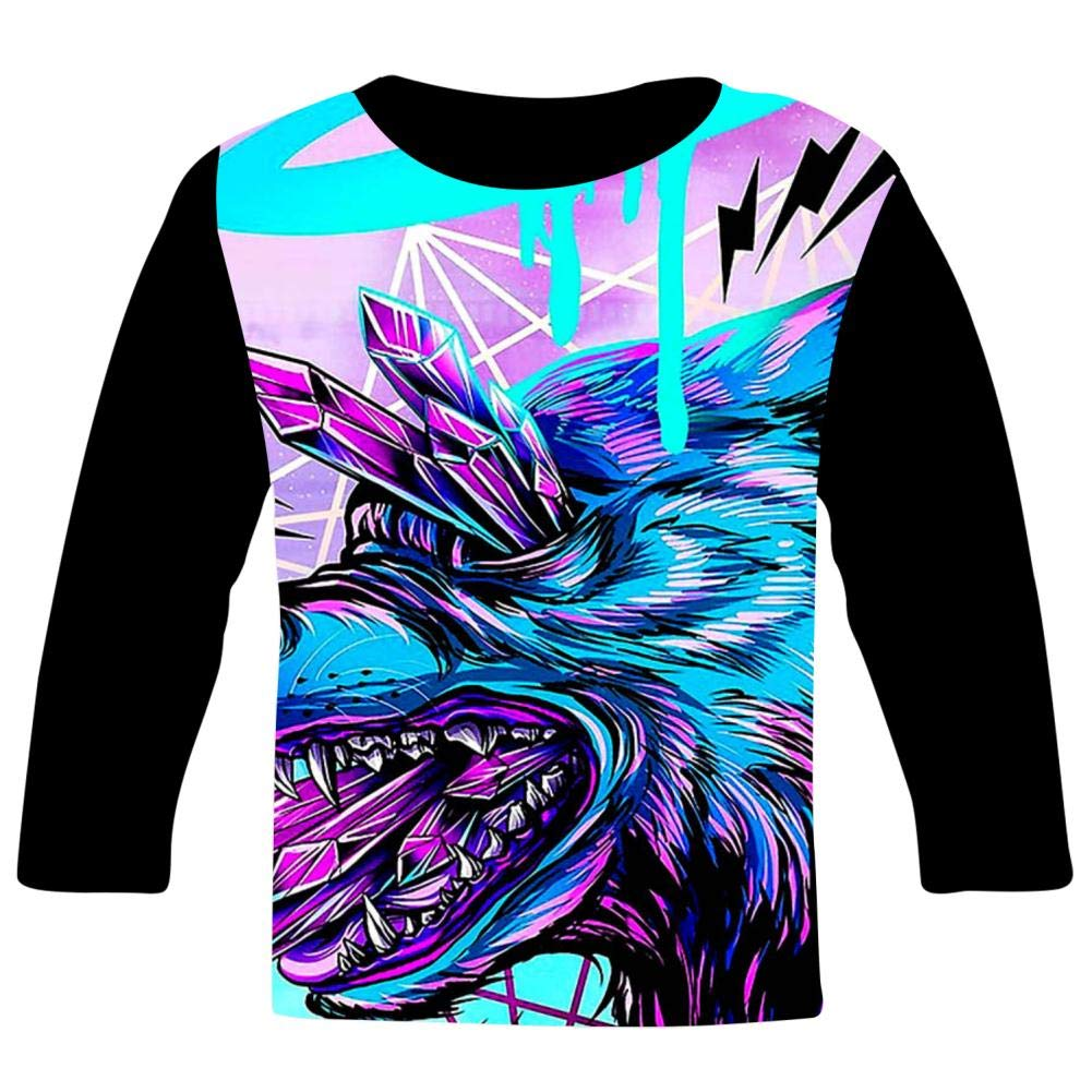 Kids Custom Cool Crystal Wolf T-Shirts Boys Girls Teenager Tee Shirt Children Youth Graphics Tees