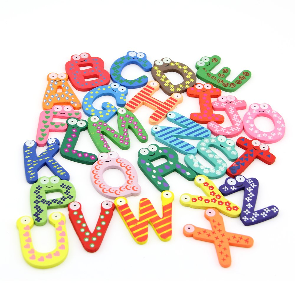 Misswonder 26 Piezas niños aprendizaje temprano divertido de madera imán de nevera Alfabeto Letras de la A a la Z