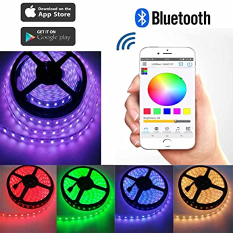 iphone controlled lighting rgb toogod smart 164ft rgb strip light kitbluetooth app controlled with iphone ios android amazoncom kit bluetooth