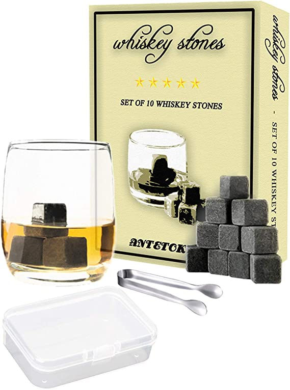Whiskey Stones Gift Set Box of 10 Chilling Rock and Tongs