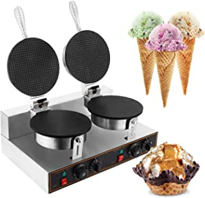 WICHEMI Electric Ice Cream Cone Waffle Maker Machine Double Head 1200W Stainless Steel Nonstick Temperature and Time Control Electric Waffle Cone Machine for Commercial Home Use