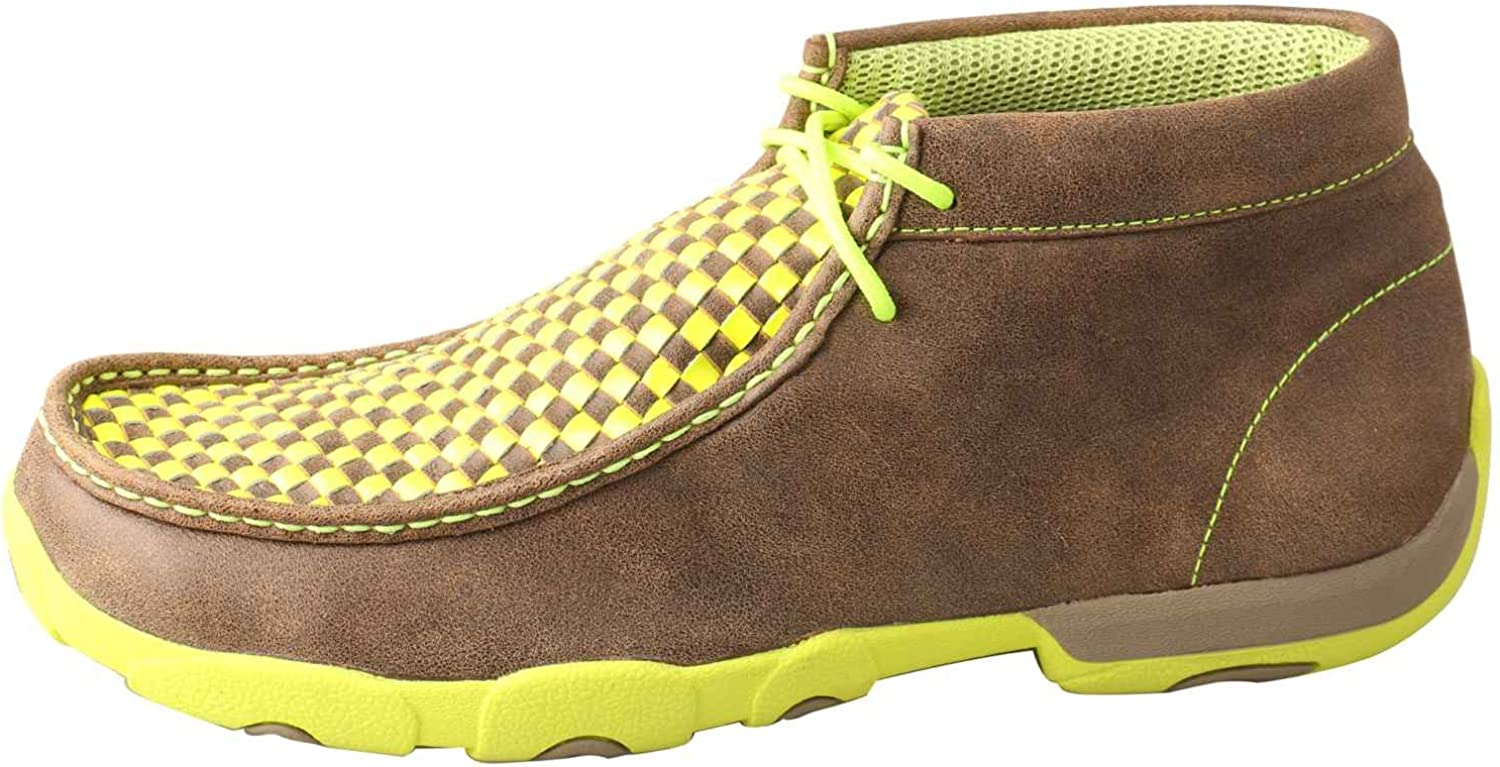 Twisted X Mens Yellow And Checkerboard Driving Mocs Bomber 11 EE US