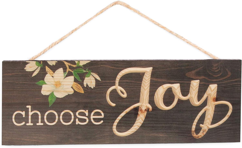 P. Graham Dunn Choose Joy Magnolia Dark Brown 16 x 6 Inch Pine Wood Carved Hewed Hanging Sign