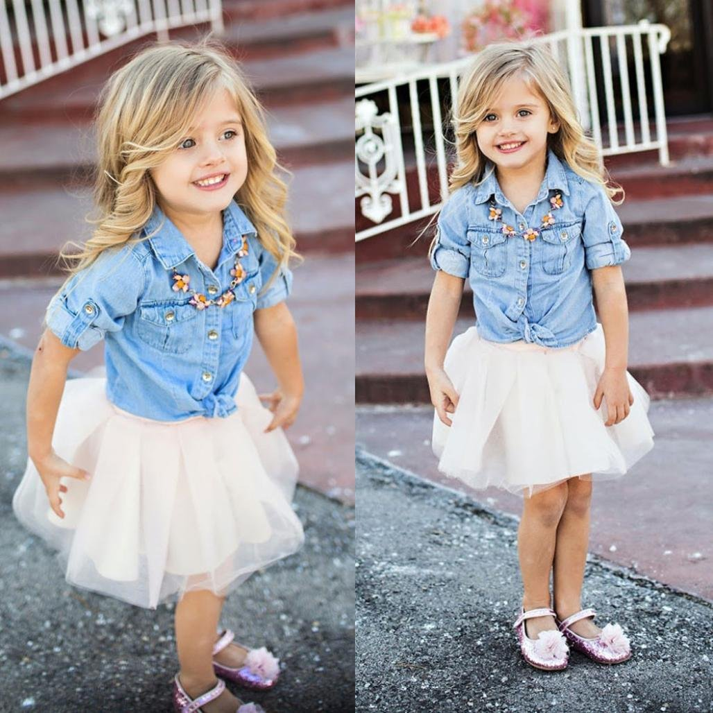 Women and Kid Girl Demin T shirt+Skirt XILALU Mommy and Me Family Outfits