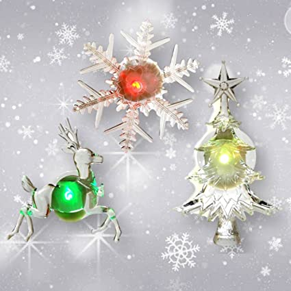 holiday window decorations assorted set of 3 reindeer christmas tree and snowflake - Amazon Christmas Tree Decorations
