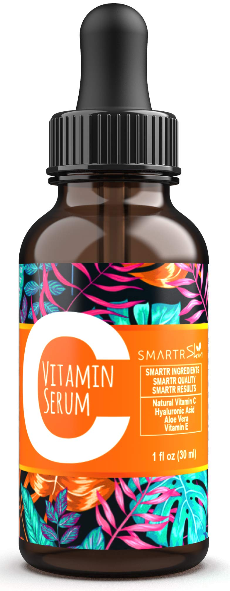 Vitamin C Serum for Face by Smartrskin with Hyaluronic Acid Organic Aloe Vera and Vitamin E - Anti Aging Skin Care Treatment for Wrinkle Acne and Scar - Black Head and Dark Spot remover 1oz