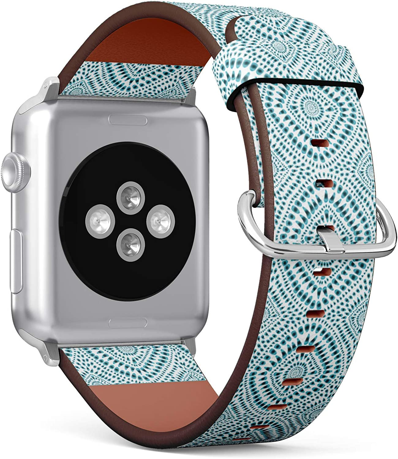 (Hippie Style Boho tie-dye Background) Patterned Leather Wristband Strap for Apple Watch Series 4/3/2/1 gen,Replacement for iWatch 42mm / 44mm Bands