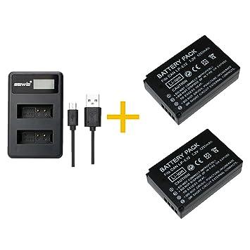 2 Piezas 1200 mAh LP-E12 LPE12 Batería con Cargador de batería para Canon EOS M100, Rebel SL1, EOS 100D, EOS M, EOS M2, EOS M10 Cámaras Digitales (2 ...