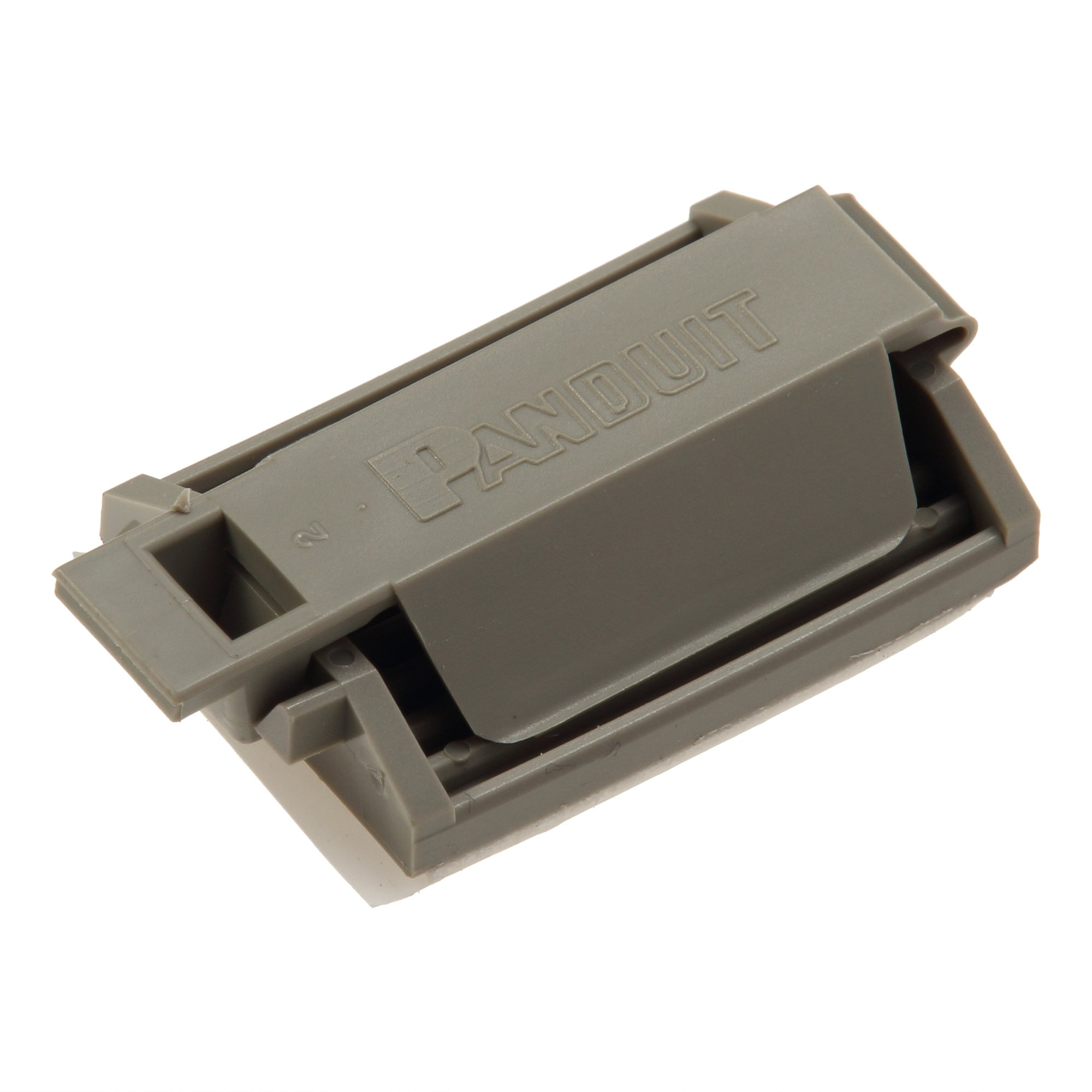 Panduit FCM2-A-C14 Latching Flat Cable Mount, Adhesive Backed, Rubber Adhesive Mounting Method, Gray (100-Pack)