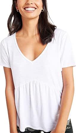 Hotouch Women's Short Sleeve V-Neck T-Shirts Casual Summer Tunic Tops Tee Loose Peplum Ruffle Shirt Blouse
