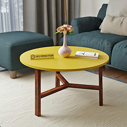 Decornation Millie Wooden Mdf Round Coffee Table With Sturdy Wood Base Yellow Amazon In Home Kitchen