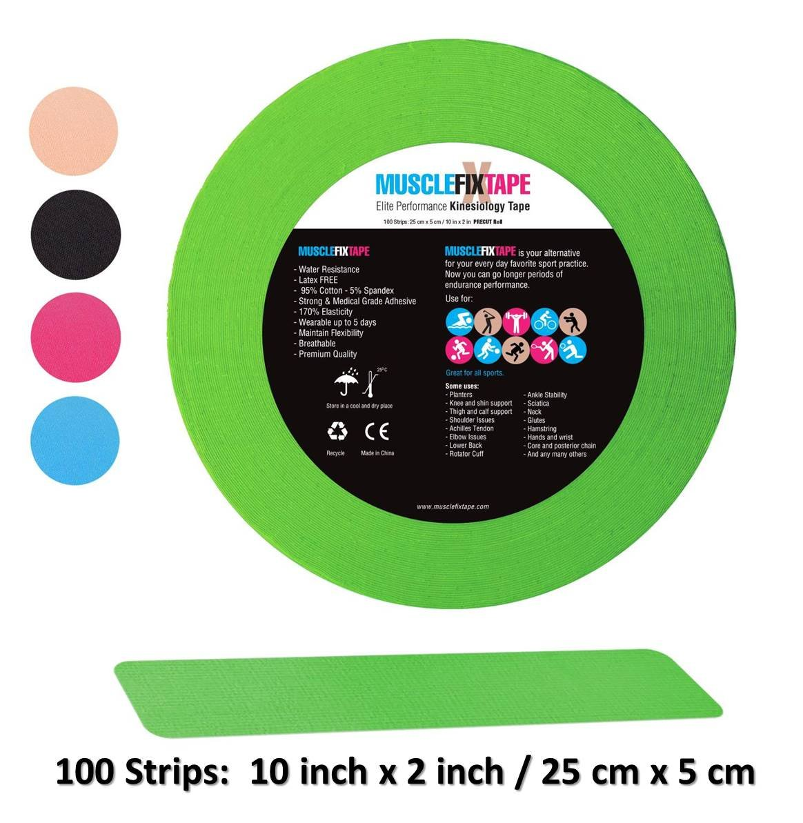 Green Kinesiology Tape Precut Roll - Bulk Jumbo Clinical Size Recovery Sports Athletic Injury Therapeutic Support PRO Physio Therapy (100 Strips: 10 in x 2 in/25cm x 5cm) kt rocktape rock-tape rock