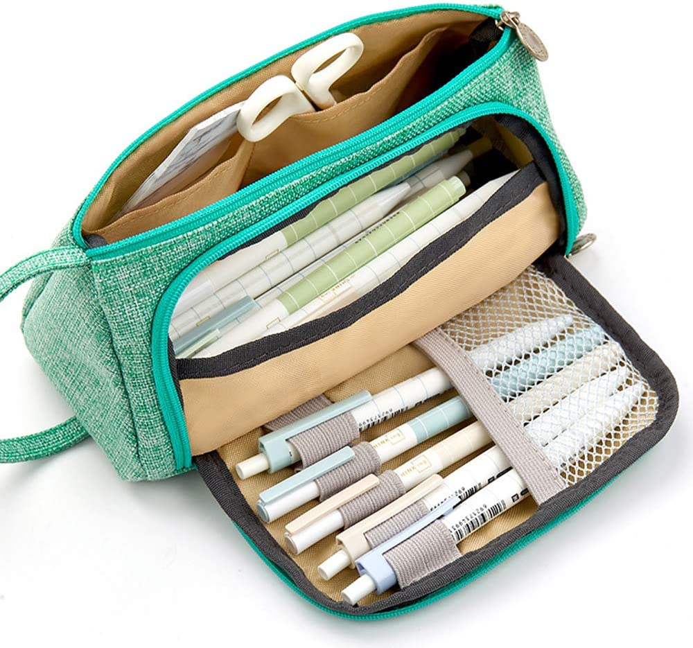 Porta lapicero largo estuche para lápices estuche para lápices de gran capacidad, suministros de oficina, cremallera: Amazon.es: Oficina y papelería