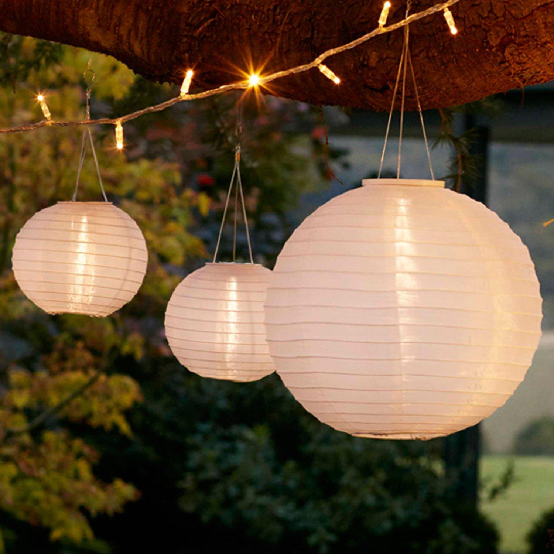 Lights4fun Set di 3 Lanterne Cinesi con LED ad Energia Solare per Giardino ed Esterni