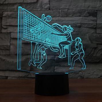 Amazon.com: Lámpara de mesa de voleibol 3D, luz nocturna de ...